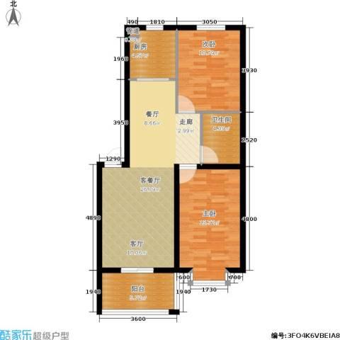 尚城花墅2室1厅1卫1厨87.00㎡户型图