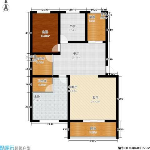 尚城花墅3室1厅2卫1厨121.00㎡户型图