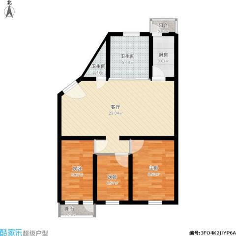 滨河西里北区3室1厅2卫1厨82.00㎡户型图