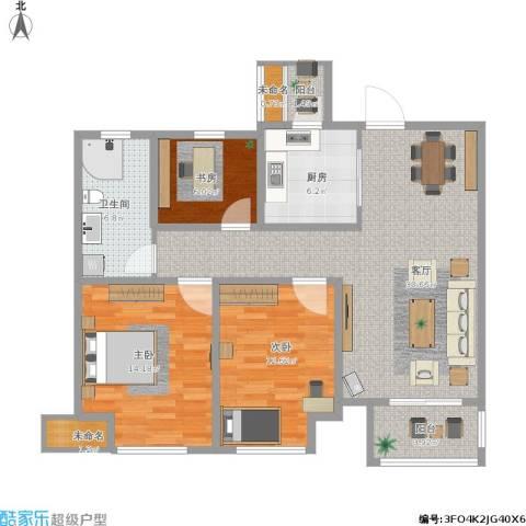 中海御景湾3室1厅1卫1厨119.00㎡户型图
