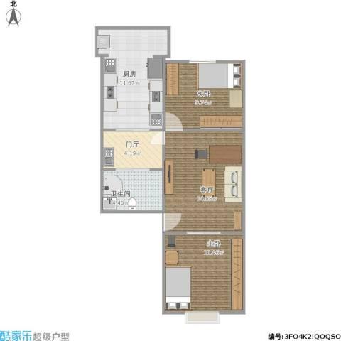 祥富里2室1厅1卫1厨76.00㎡户型图