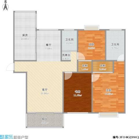 拉德芳斯北苑3室1厅2卫1厨129.00㎡户型图