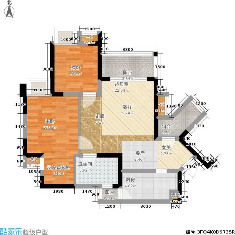 融锦城80.05㎡一期4号楼B6户型