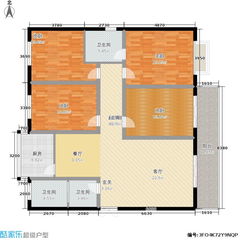 荆山名邸二期156.96㎡D户型4室2厅2卫