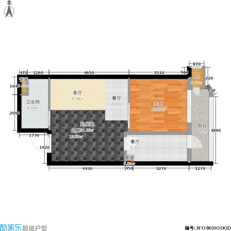 富贵园53.00㎡三期2#标准层K51面积5300m户型