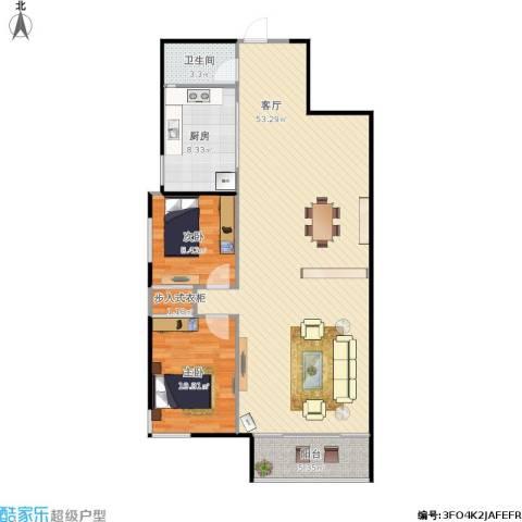 阳光花园2室1厅1卫1厨121.00㎡户型图