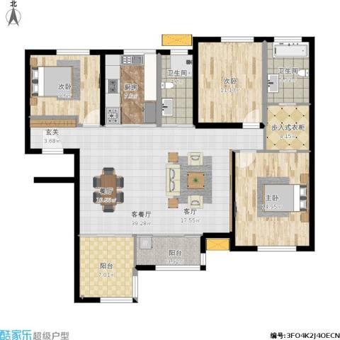 禅城绿地中心3室1厅2卫1厨152.00㎡户型图