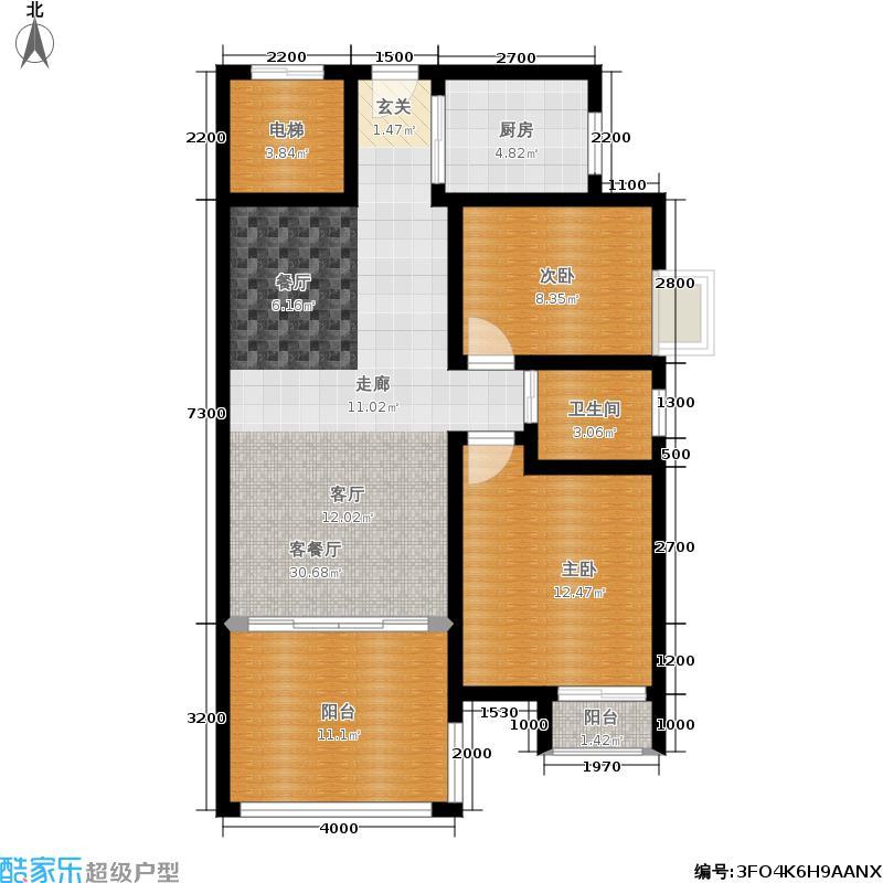 天元华雅花园87.48㎡C1栋两室两厅一卫户型2室2厅1卫