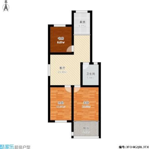 蟠桃花园3室1厅1卫1厨106.00㎡户型图