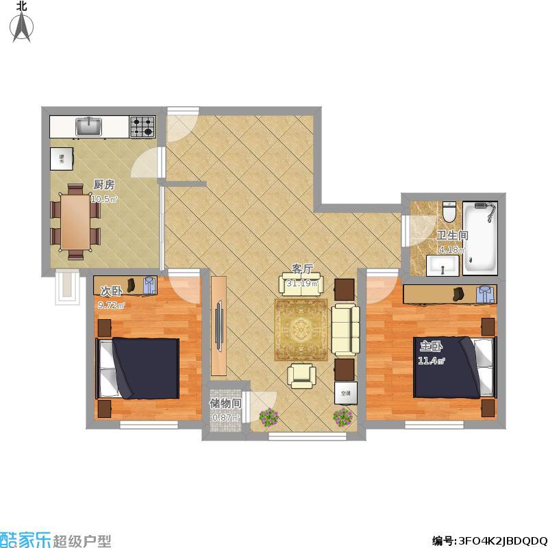 菁英豪庭88.7方02户型两室两厅一卫