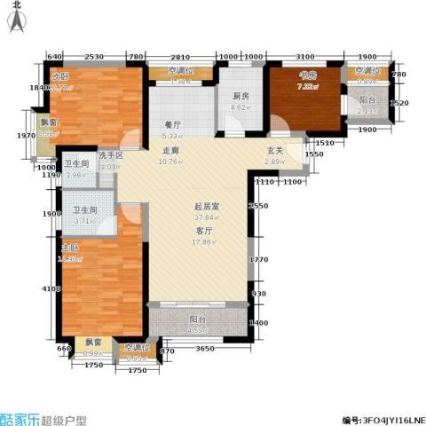 北辰红星国际广场3室0厅2卫1厨130.00㎡户型图