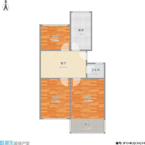鼓楼新村3室1厅1卫1厨77.00㎡户型图