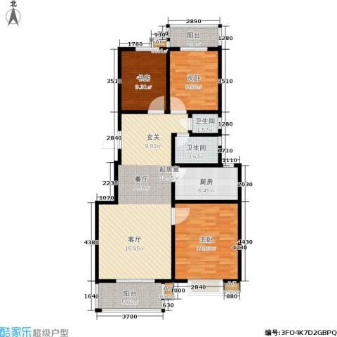 金色奥园3室0厅2卫1厨97.00㎡户型图