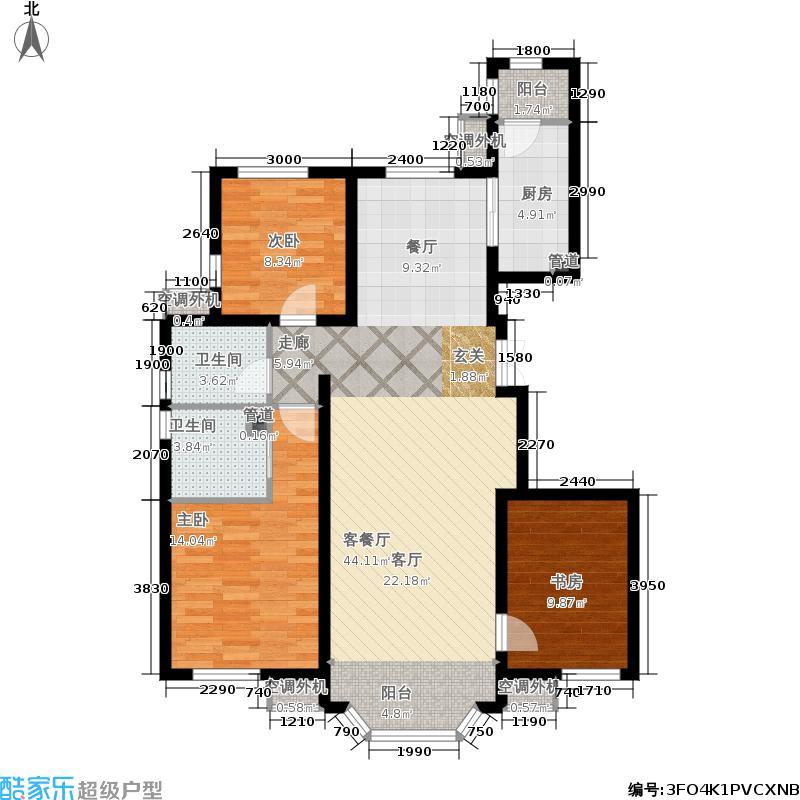 首创伊林郡127.00㎡1期C3户型3室2厅