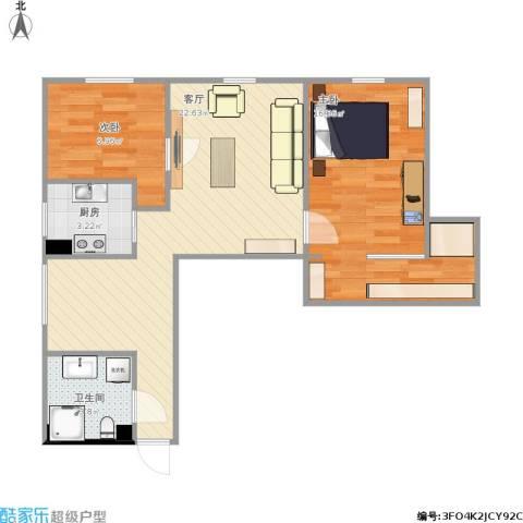 月季园小区2室1厅1卫1厨73.00㎡户型图