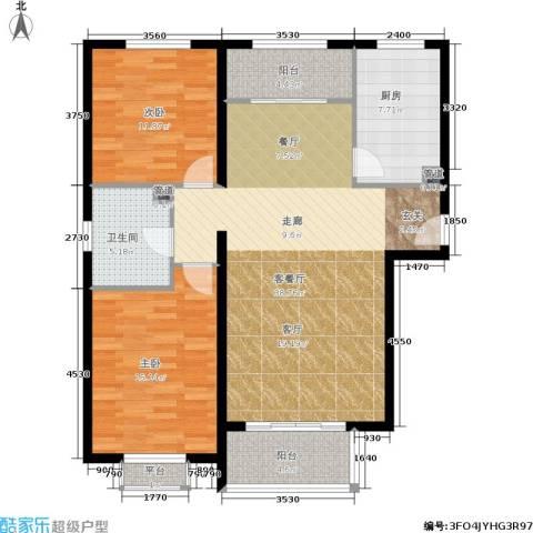 龙熙帝景2室1厅1卫1厨100.00㎡户型图