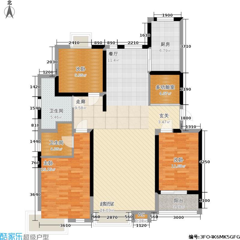 伟浩中央花园141.00㎡小高层G1户型图户型3室2厅2卫