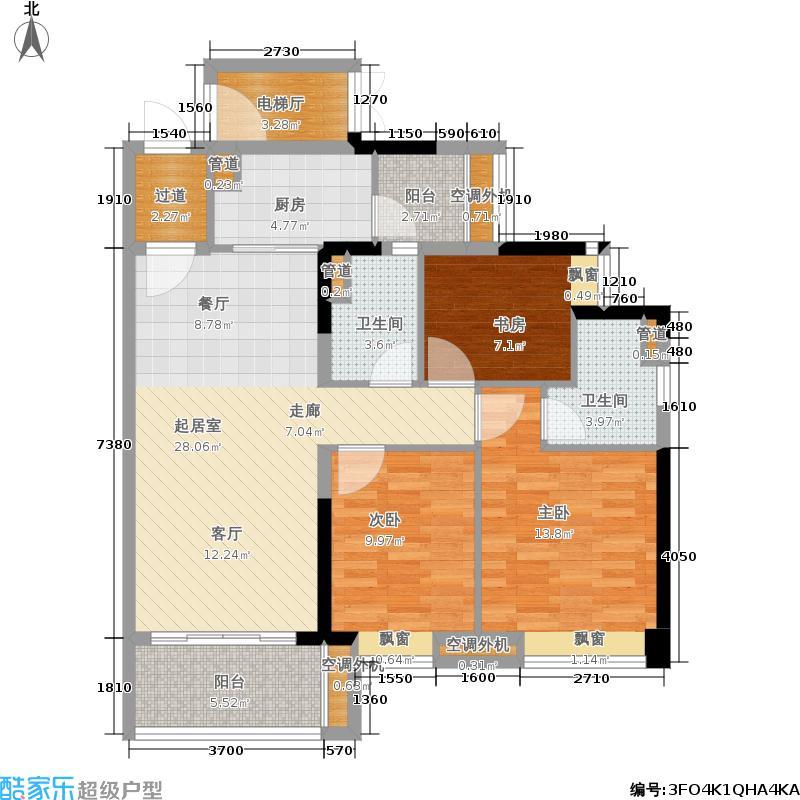 保利瓏熙102.00㎡1栋02单元户型3室2厅