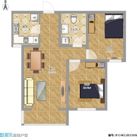 鑫泰园2室1厅1卫1厨107.00㎡户型图