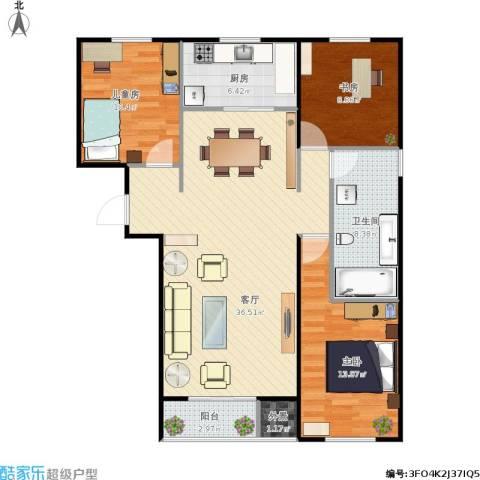 北京大兴区大有庄回迁房3室1厅1卫1厨118.00㎡户型图