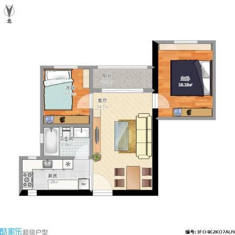 龙珠花园2室1厅1卫1厨62.00㎡户型图