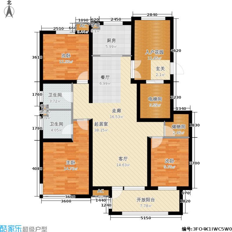 国仕山136.89㎡三期国仕墅L2户型3室2厅