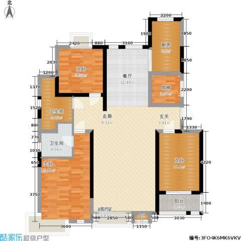 伟浩中央花园3室0厅2卫1厨138.00㎡户型图
