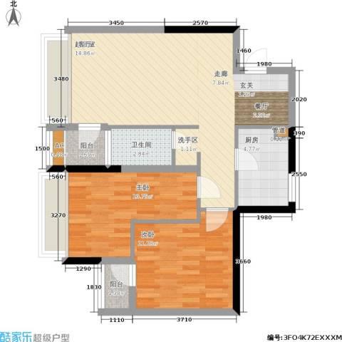 橄榄园2室0厅1卫1厨76.00㎡户型图