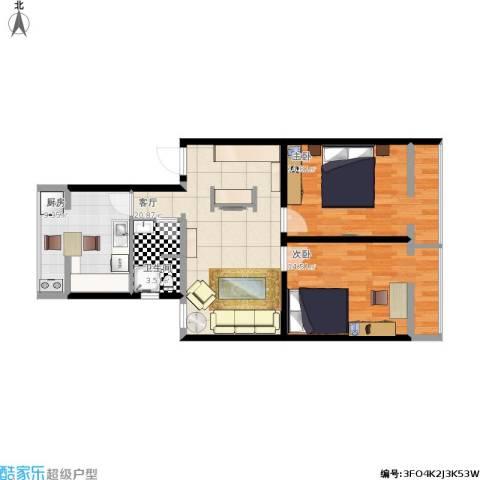 广安门车站西街17号院2室1厅1卫1厨89.00㎡户型图