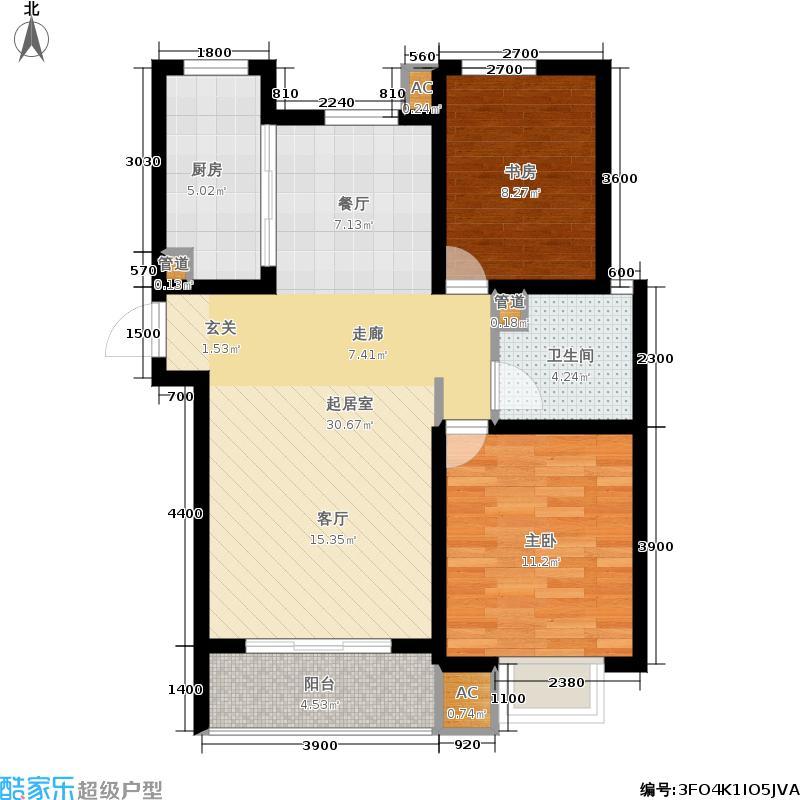 外滩森林91.91㎡3号楼1、2单元D户型2室2厅