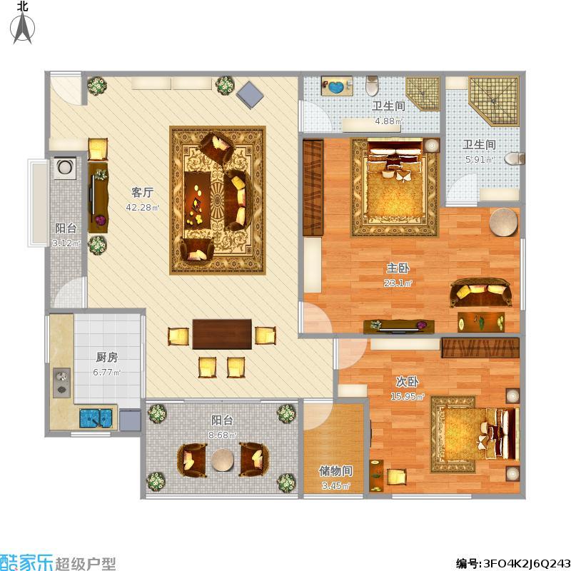 温暖鹅白120方A3户型两房两厅