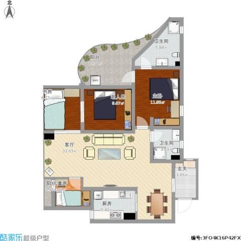 齐盛艺境4室1厅2卫1厨139.00㎡户型图