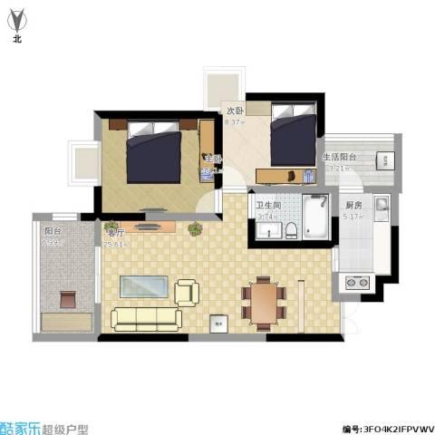 万兴・和睦人家2室1厅1卫1厨92.00㎡户型图