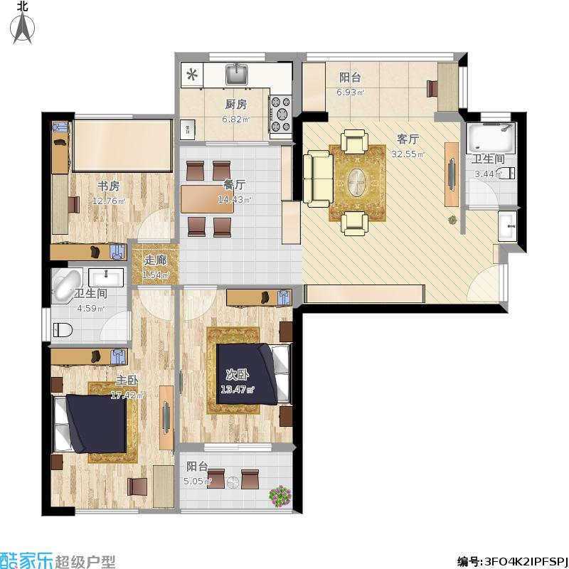 罗马景福城122.27三室两厅两卫