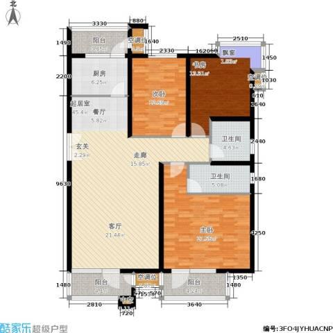 海川园3室0厅2卫1厨123.46㎡户型图