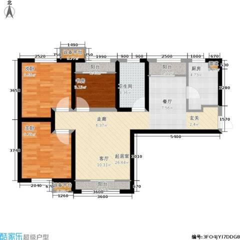 融创洞庭路壹号3室0厅1卫1厨104.00㎡户型图