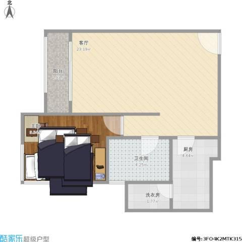 远雄兰苑1室1厅1卫1厨63.00㎡户型图