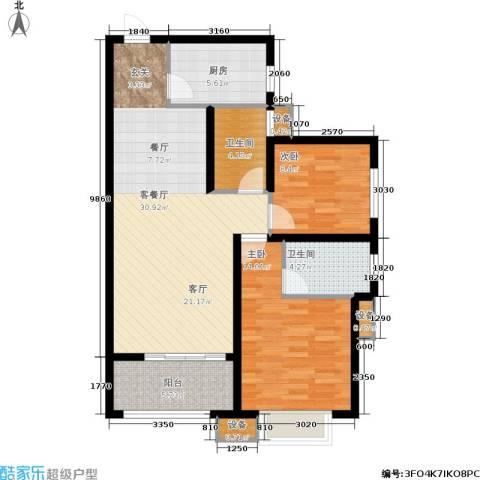 天元阳光苑2室1厅2卫1厨107.00㎡户型图