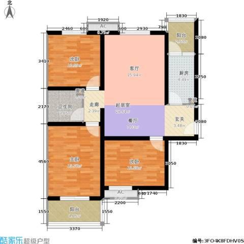 卓昱北苑3室0厅1卫1厨100.00㎡户型图