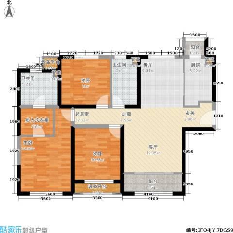 融创洞庭路壹号3室0厅2卫1厨135.00㎡户型图