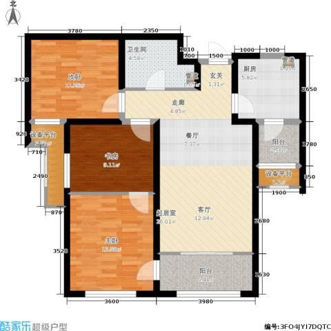 融创洞庭路壹号3室0厅1卫1厨96.00㎡户型图
