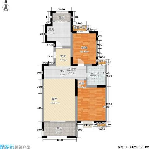 溪谷港湾2室0厅1卫1厨103.00㎡户型图
