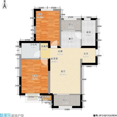 溪谷港湾2室0厅1卫1厨99.00㎡户型图