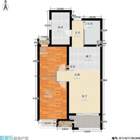 融创洞庭路壹号2室0厅1卫1厨91.00㎡户型图