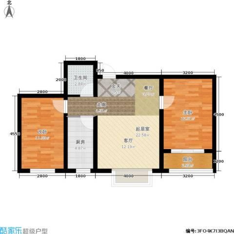百合世嘉2室0厅1卫1厨78.00㎡户型图