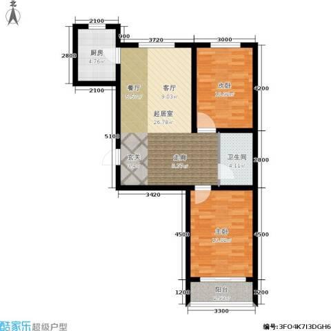 百合世嘉2室0厅1卫1厨87.00㎡户型图
