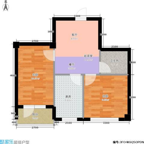 锦山秀城2室0厅1卫1厨55.00㎡户型图