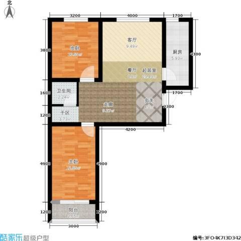 百合世嘉2室0厅1卫1厨88.00㎡户型图