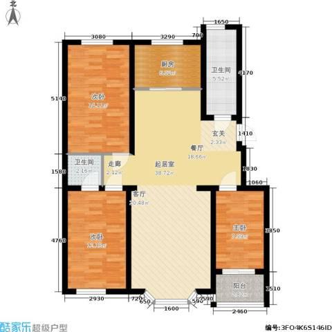 幸福里3室0厅2卫1厨128.00㎡户型图