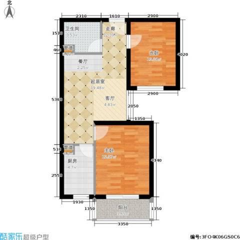 长安壹线2室0厅1卫1厨63.00㎡户型图